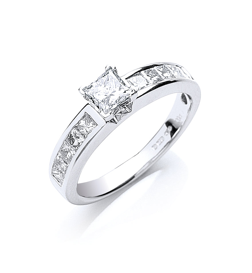 18ct White Gold 1.00ct Princess Cut Diamond Ring