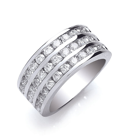 18ct White Gold 3 Rows D.1.50ctw Diamond Ring