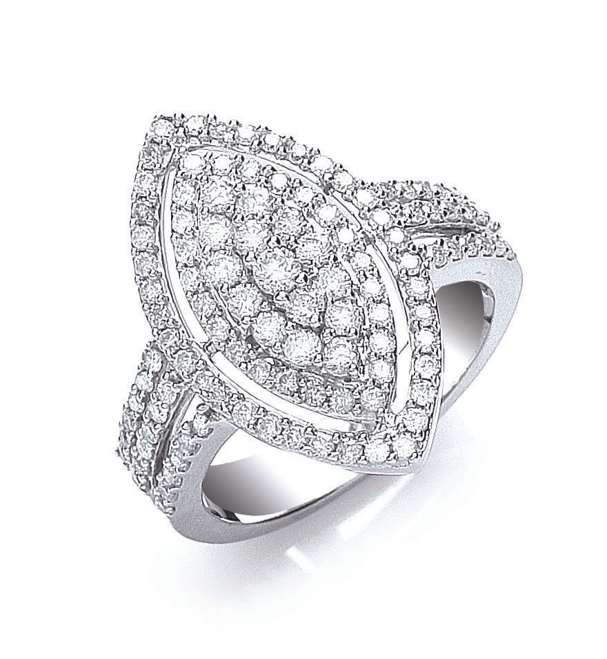 18ct White Gold 1.00ct Cluster Diamond Ring