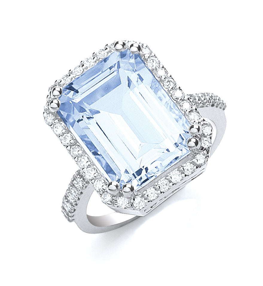 18ct White Gold 0.40ct Diamond & 6.25ct Aquamarine Ring