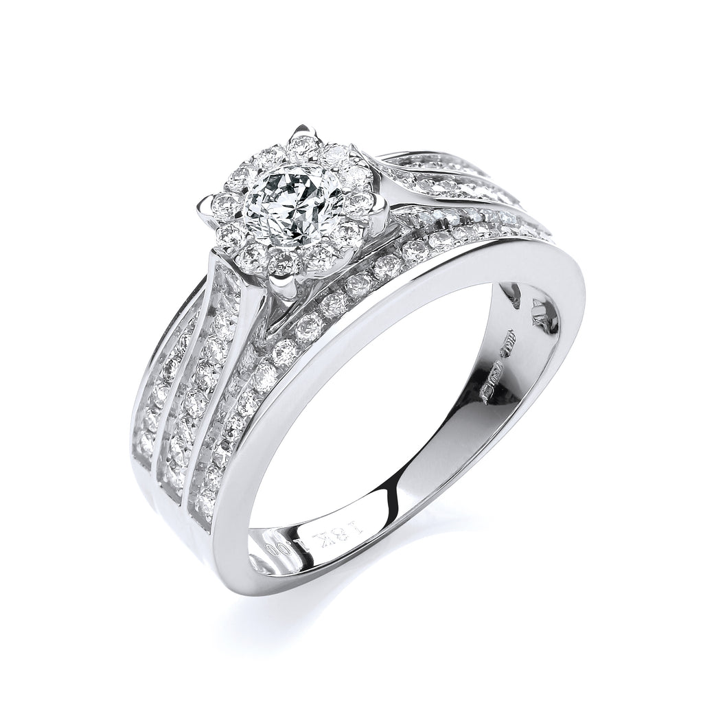 18ct White Gold 1.00ct Diamond Dress Ring