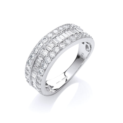 18ct White Gold D.1.00ctw Diamond Half Eternity Ring