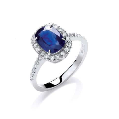 18ct W/G 0.25ct Diamond, Cushion 1.75ct Sapphire Ring