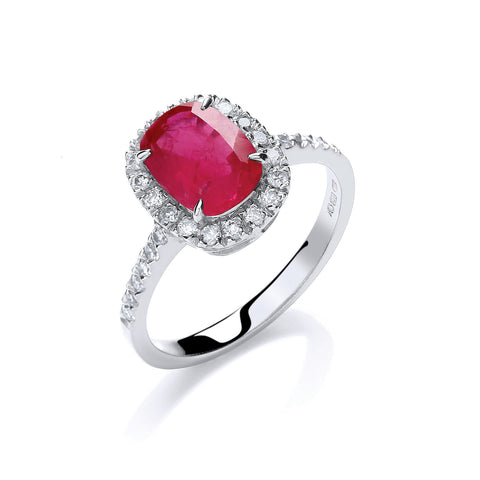 18ct W/G 0.25ct Diamond, Cushion 1.9ct Ruby Ring