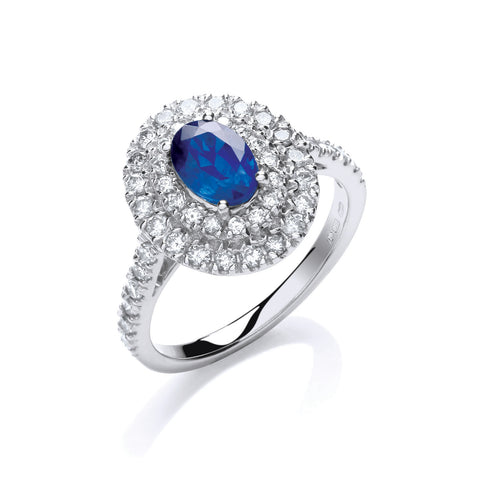 18ct W/G Diamond 0.60ct, Oval 1.0ct Sapphire Ring