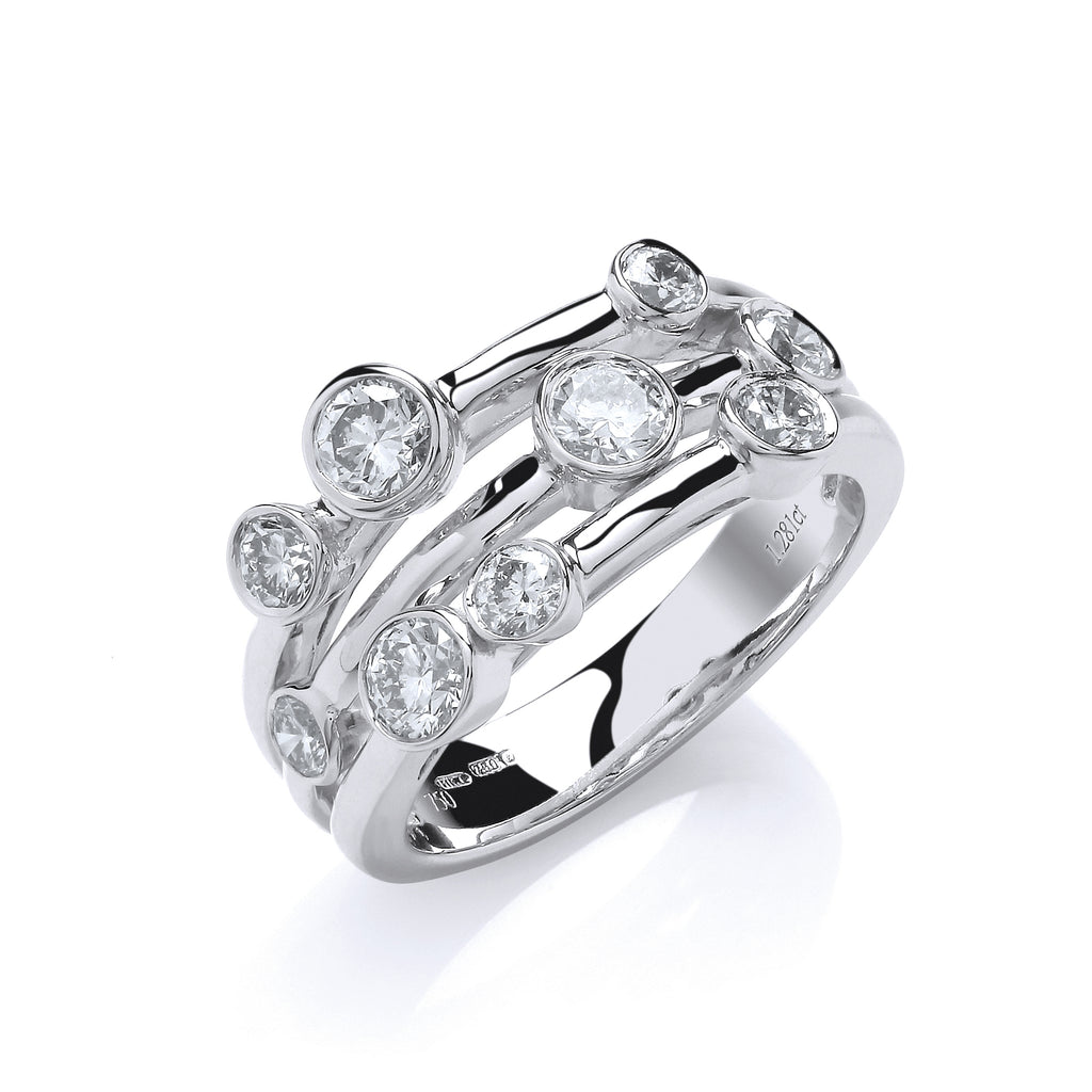 18ct White Gold 1.30ct GH-SI Diamond Dress Ring