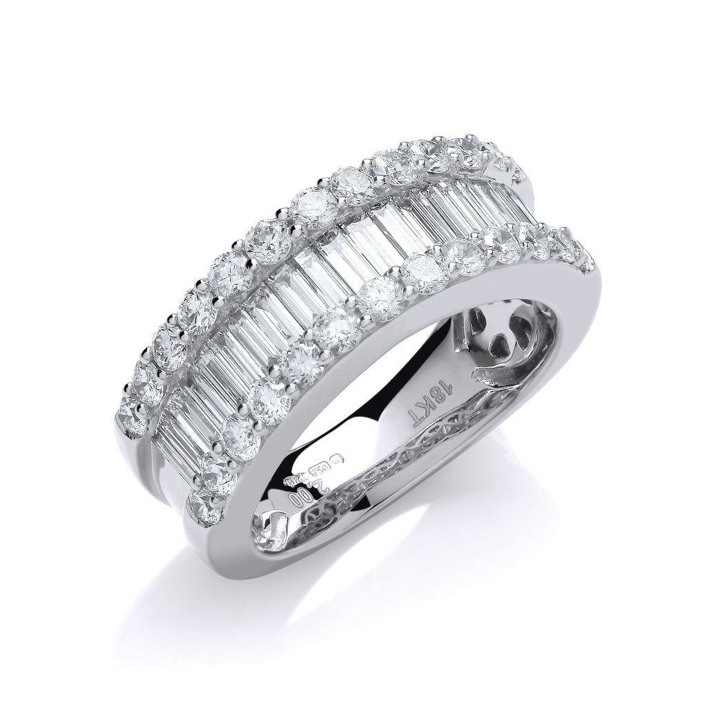 18ct White Gold 2.00ct Baguette & Brilliant Diamond Ring