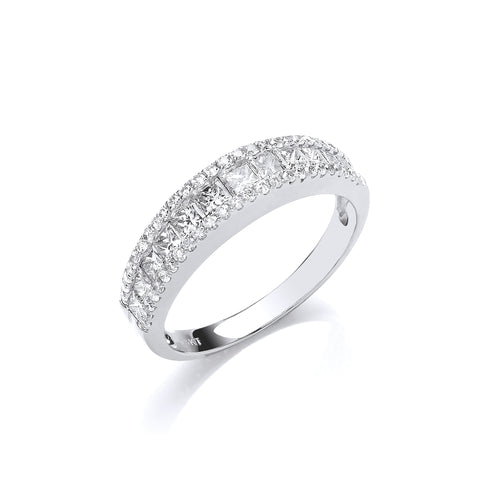 18ct WG 1.00ct Princess & Brilliant Cut Diamond ET Ring