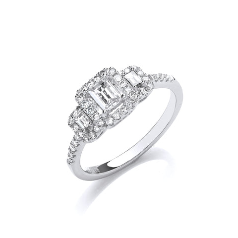 18ct WG Emerald Cut 0.75ct Halo styleTrilogy Ring