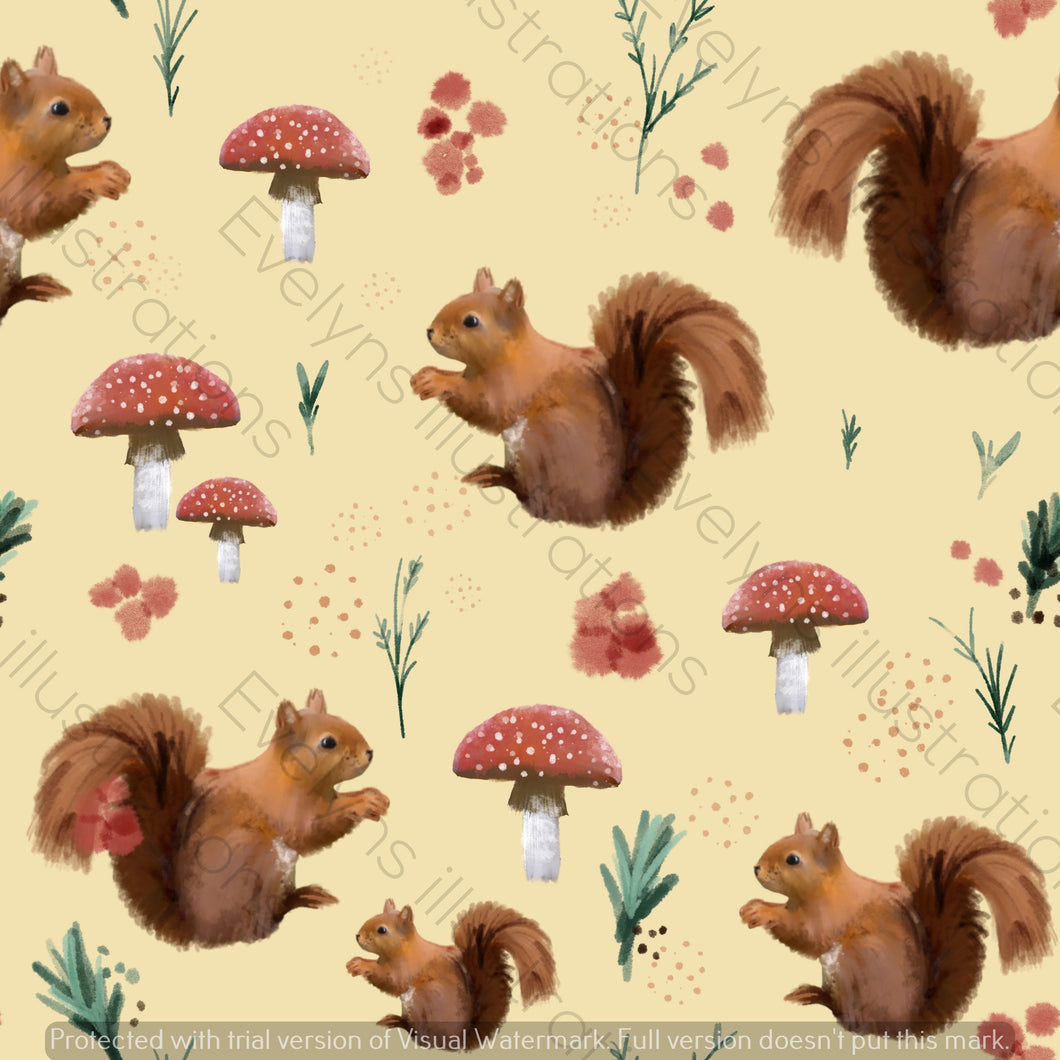 Digital Download - Non Exclusive | Medium Scale | Spring Squirrel Yellow | 7 by 7 Inches