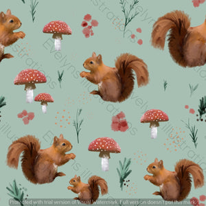 Digital Download - Non Exclusive | Medium Scale | Spring Squirrel Olive Green | 7 by 7 Inches