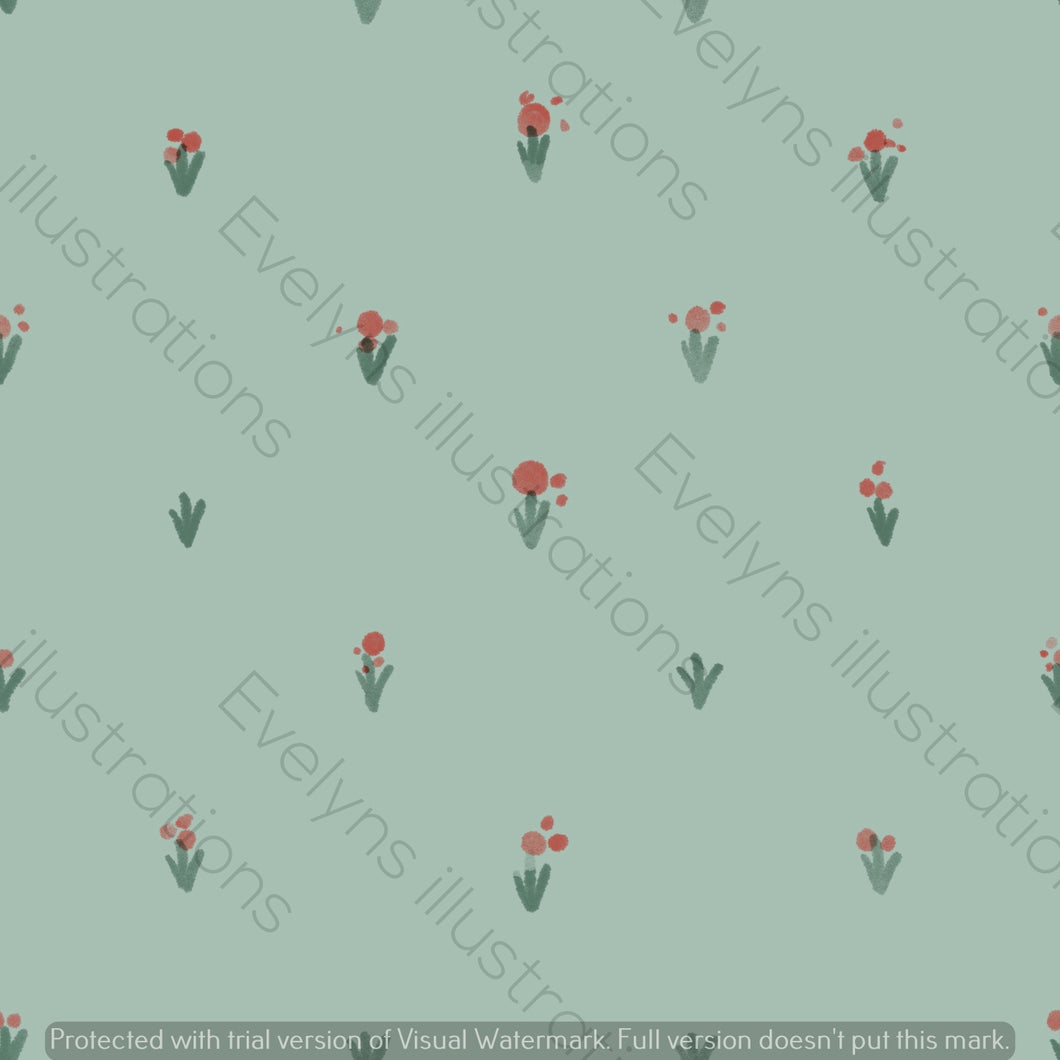 Digital Download - Non Exclusive | Medium Scale | Simple Flowers Olive Green | 5 by 5 Inches