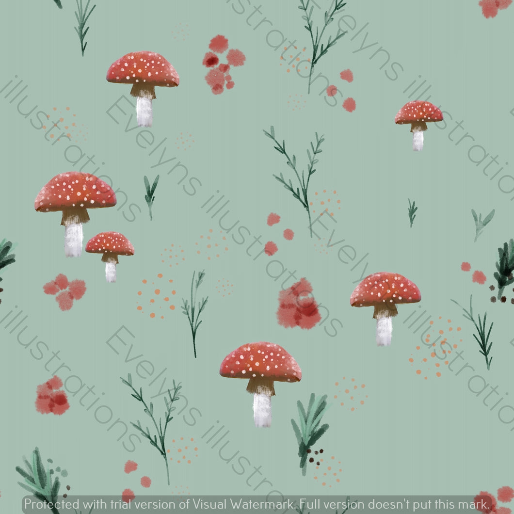 Digital Download - Non Exclusive | Medium Scale | Spring Mushrooms Olive Green | 7 by 7 Inches