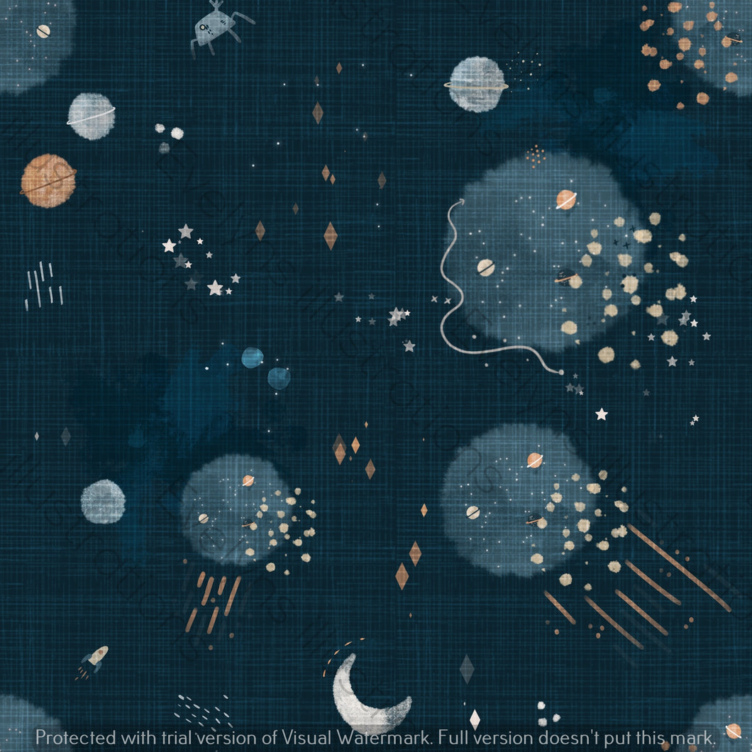 Repeat Illustrated Pattern Digital Download - Fully Exclusive | Blue Universe | 9 by 9 Inches