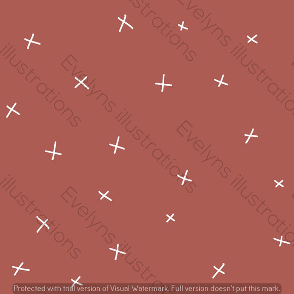 Digital Download - Non Exclusive | Medium Scale | Dusky Rust | Calm Crosses | 6 by 6 Inches