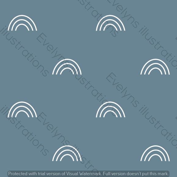 Digital Download - Non Exclusive | Medium Scale | Light Blue Grey | Bohemian Rainbows | 6 by 6 Inches