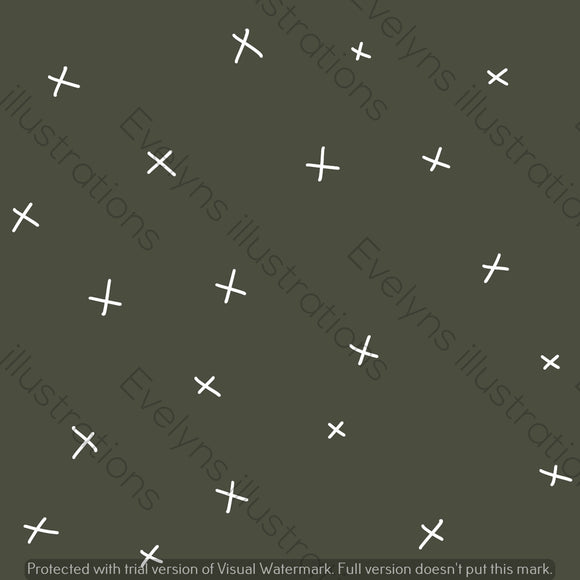 Digital Download - Non Exclusive | Medium Scale | Dark Earth Green | Calm Crosses | 6 by 6 Inches