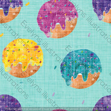 Load image into Gallery viewer, Repeat Illustrated Pattern Digital Download - Non Exclusive | Medium Scale | Distressed Textured Mint Blue | Bright Donuts | 6 by 6 Inches