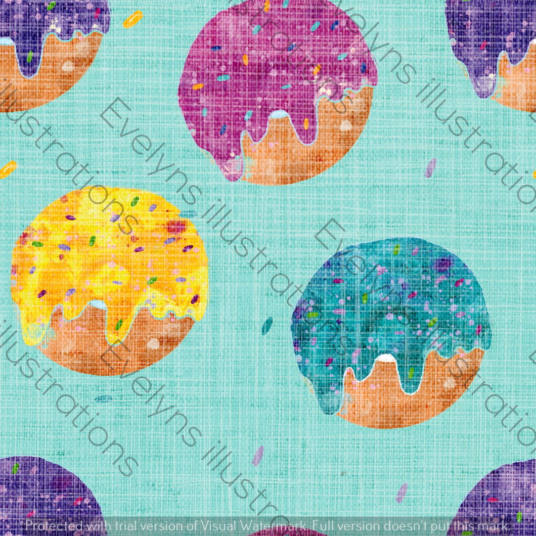 Repeat Illustrated Pattern Digital Download - Non Exclusive | Medium Scale | Distressed Textured Mint Blue | Bright Donuts | 6 by 6 Inches