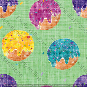 Repeat Illustrated Pattern Digital Download - Non Exclusive | Medium Scale | Distressed Textured Green | Bright Donuts | 6 by 6 Inches