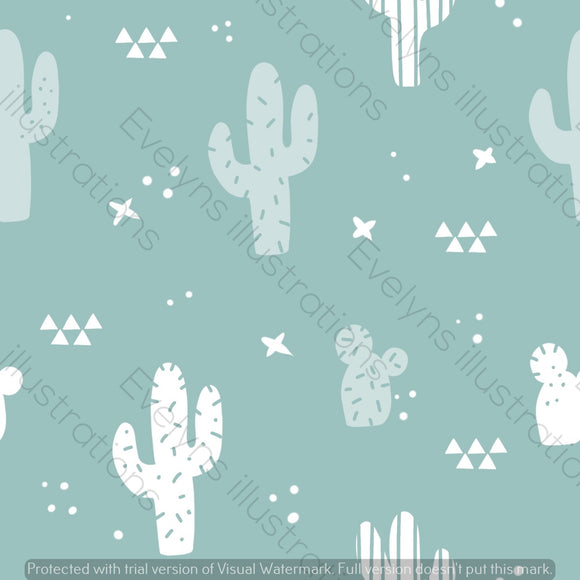 Digital Download - Non Exclusive | Medium Scale | Mint | Cactus | 6 by 6 inches | Oh Baby Blue Collection