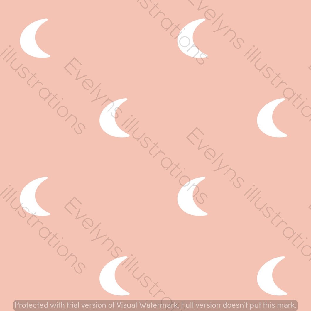 Digital Download - Non Exclusive | Medium Scale | Rose Pink | Plain Boho Moons | 6 by 6 Inches | Oh Baby Blue Collection