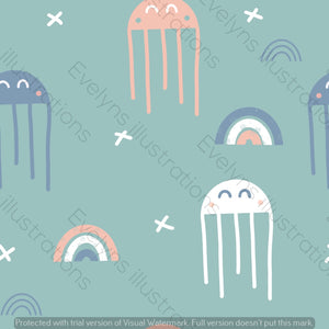 Digital Download - Non Exclusive | Medium Scale | Scandi Jellyfish On Mint | 6 by 6 inches | Oh Baby Blue Collection