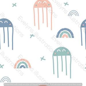 Digital Download - Non Exclusive | Medium Scale | Scandi Jellyfish | 6 by 6 inches | Oh Baby Blue Collection