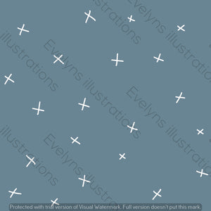 Digital Download - Non Exclusive | Medium Scale | Light Blue Grey | Calm Crosses | 6 by 6 Inches