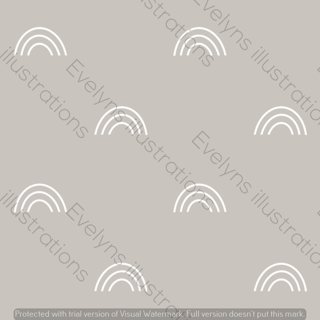 Digital Download - Non Exclusive | Medium Scale | Light Grey | Bohemian Rainbows | 6 by 6 Inches