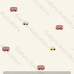 Digital Download - Non Exclusive | Medium Scale | Cream and Red | Little Vehicles | 7 by 7 Inches