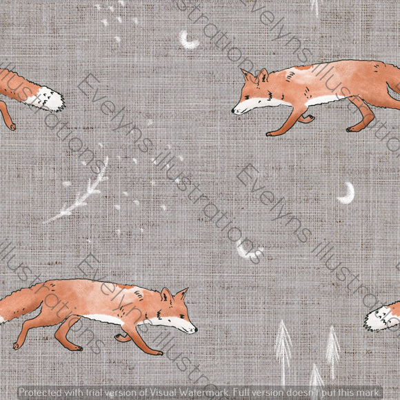 Digital Download - Non Exclusive | Medium Scale | Fox Tales Grey | 7 by 7 Inches