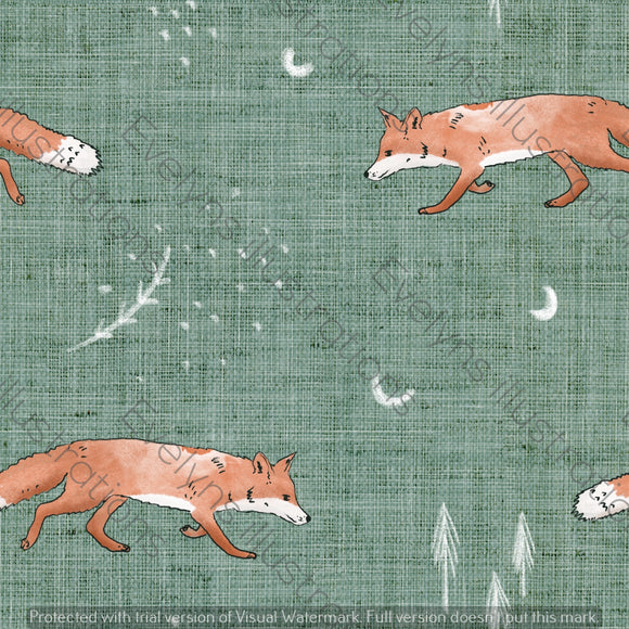 Digital Download - Non Exclusive | Medium Scale | Fox Tales Green | 7 by 7 Inches