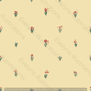 Digital Download - Non Exclusive | Medium Scale | Simple Flowers Yellow | 5 by 5 Inches