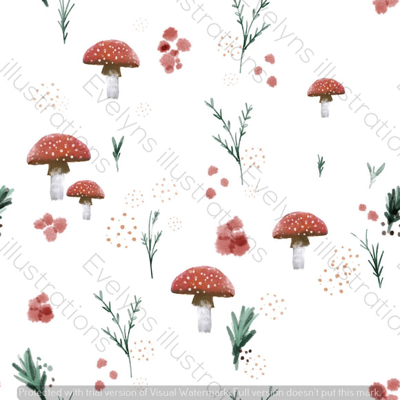 Digital Download - Non Exclusive | Medium Scale | Spring Mushrooms White | 7 by 7 Inches