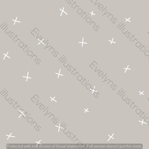 Digital Download - Non Exclusive | Medium Scale | Light Grey | Calm Crosses | 6 by 6 Inches