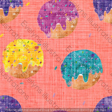 Load image into Gallery viewer, Repeat Illustrated Pattern Digital Download - Non Exclusive | Medium Scale | Distressed Textured Peach | Bright Donuts | 6 by 6 Inches