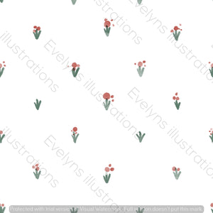 Digital Download - Non Exclusive | Medium Scale | Simple Flowers White | 5 by 5 Inches