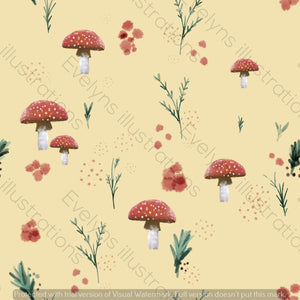 Digital Download - Non Exclusive | Medium Scale | Spring Mushrooms Yellow | 7 by 7 Inches