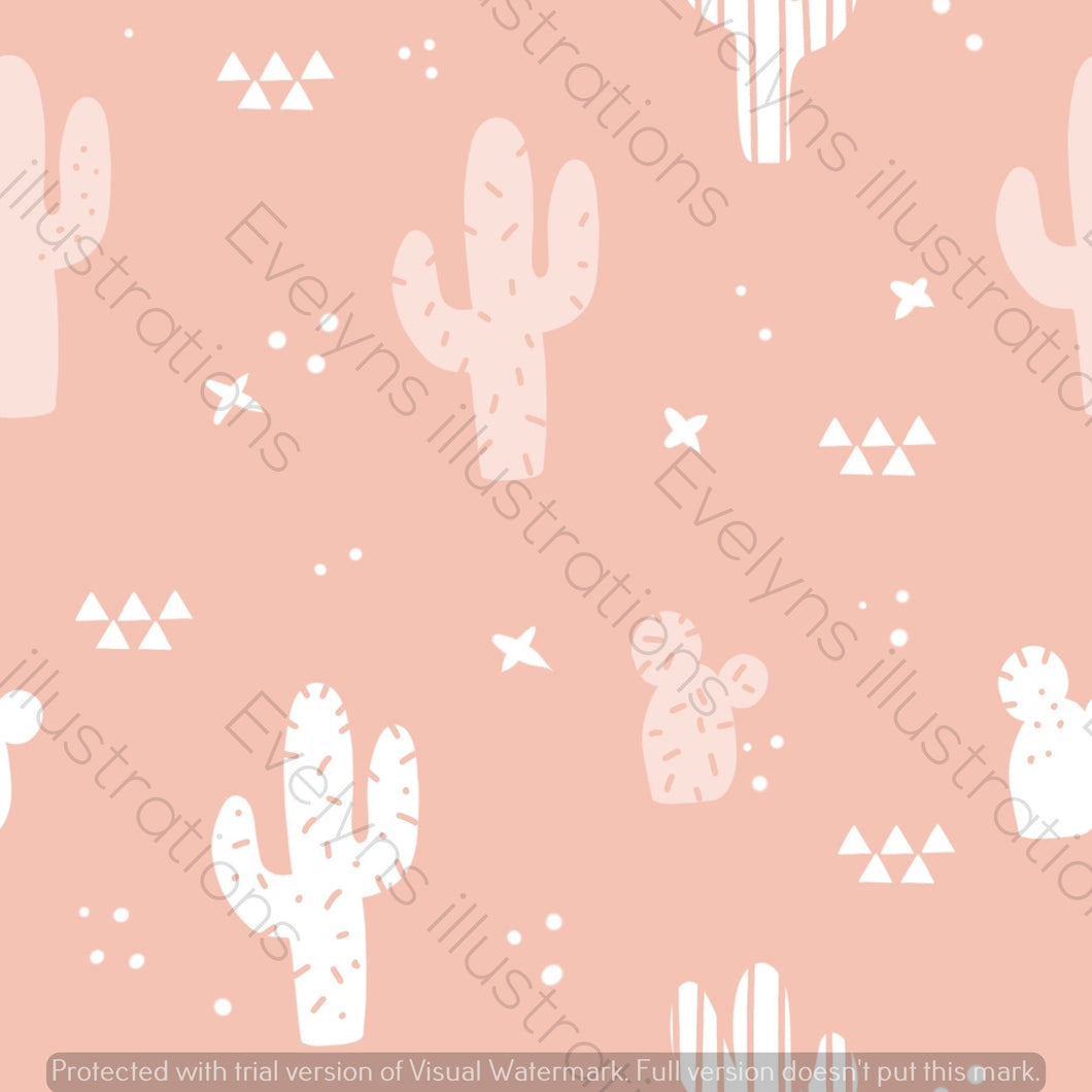 Digital Download - Non Exclusive | Medium Scale | Rose Pink | Cactus | 6 by 6 inches | Oh Baby Blue Collection