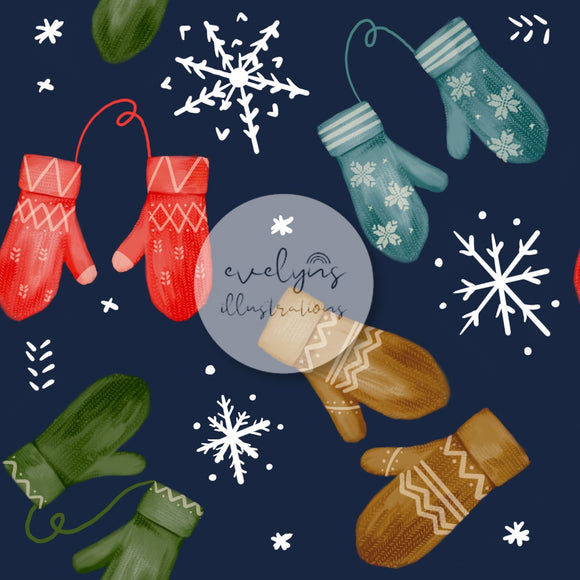 Digital Download -  Non exclusive | Cosy Mittens on Blue |  7 by 7 inches