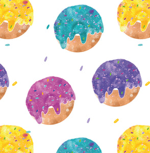 Repeat Illustrated Pattern Digital Download - Non Exclusive | Medium Scale | White | Bright Donuts | 6 by 6 Inches - Evelyns Illustrations