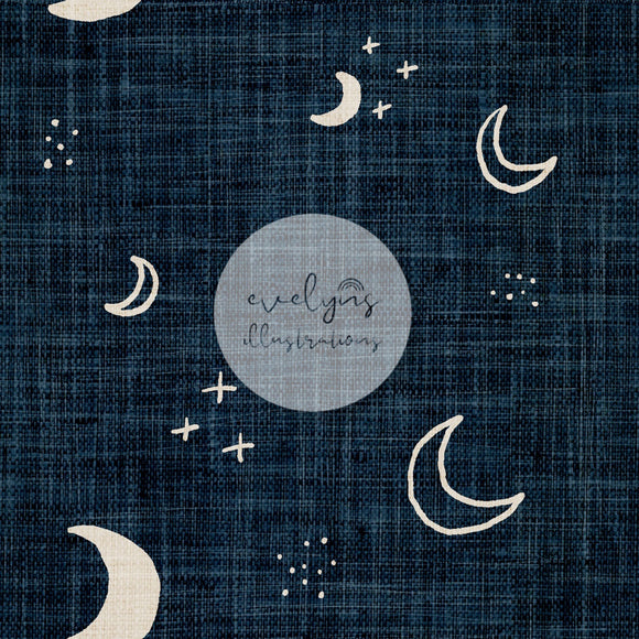 Repeat Illustrated Pattern Digital Download - Non Exclusive | Medium Scale | Denim | Moons | 5 by 5 Inches - Evelyns Illustrations