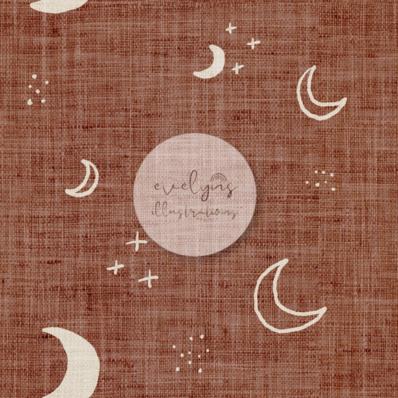 Digital Download - Non Exclusive | Medium Scale | Light Teracotta Rust | Moons | 5 by 5 Inches - Evelyns Illustrations