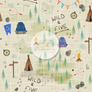 Digital Download -  Non exclusive | Wild and Five Birthday Cream |  11.4 by 11.4 inches