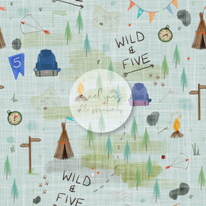 Digital Download - Non exclusive | Wild and Five Birthday Blue | 11.4 by 11.4 inches