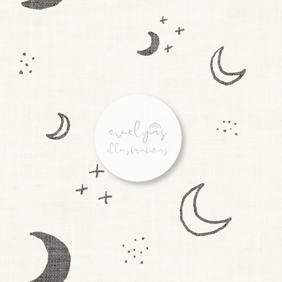 Repeat Illustrated Pattern Digital Download - Non Exclusive | Medium Scale | Cream | Moons | 5 by 5 Inches