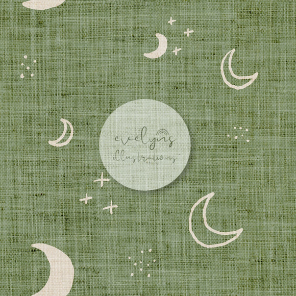Digital Download - Non Exclusive | Medium Scale | Light Olive | Moons | 5 by 5 Inches - Evelyns Illustrations
