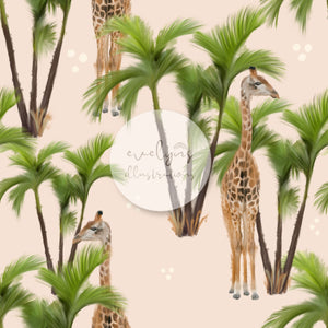 Repeat Illustrated Pattern Digital Download - Exclusive Colourway | Tropical Giraffes | Off Cream | 6 by 6 Inches