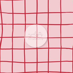 Digital Download - Non Exclusive | Medium Scale | Pink And Red | Square Grid | 6 by 6 inches